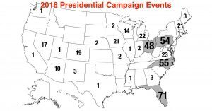 Map of 2016 presidential campaign events